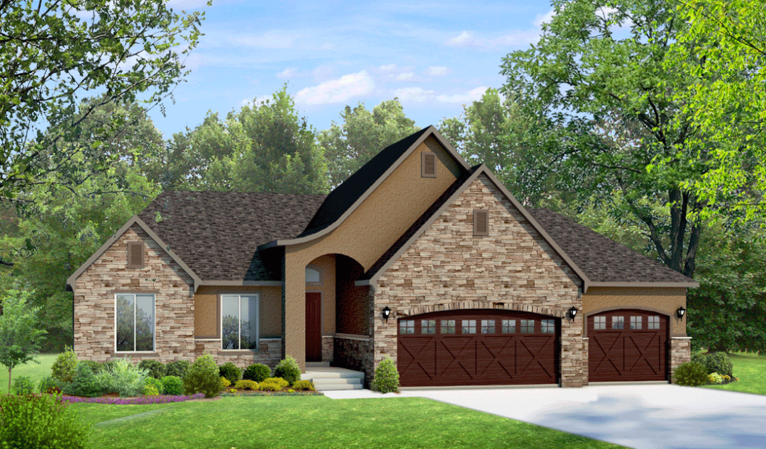 cambridge french country house plan 3d rendering