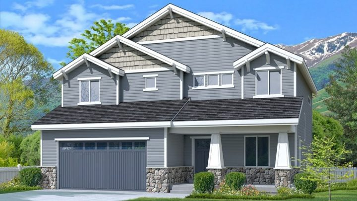 newton craftsman house plan 3d rendering