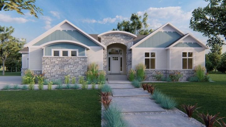 arbor wood craftsman house plan 3d rendering