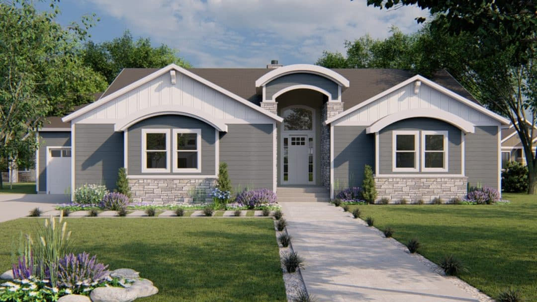 auburn modern craftsman house plan 3d rendering