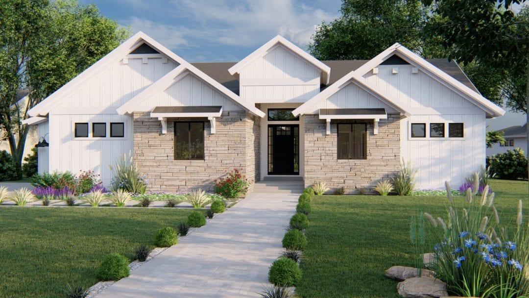 auburn modern farmhouse house plan 3d rendering