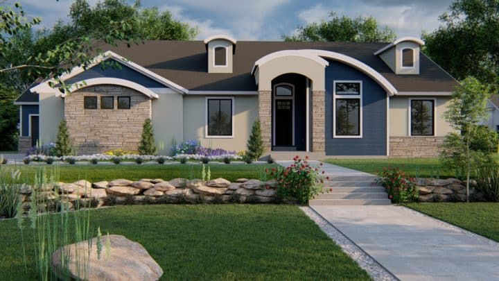 beacon hill modern craftsman house plan 3d rendering