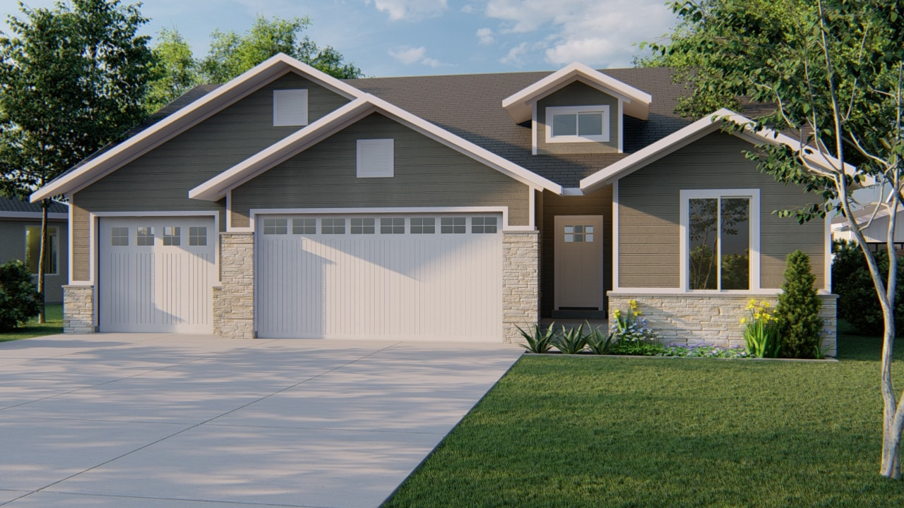 durham craftsman house plan 3d rendering