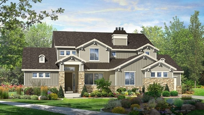 grays harbor craftsman house plan 3d rendering