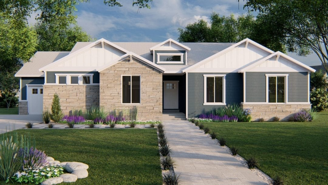 highline craftsman house plan 3d rendering