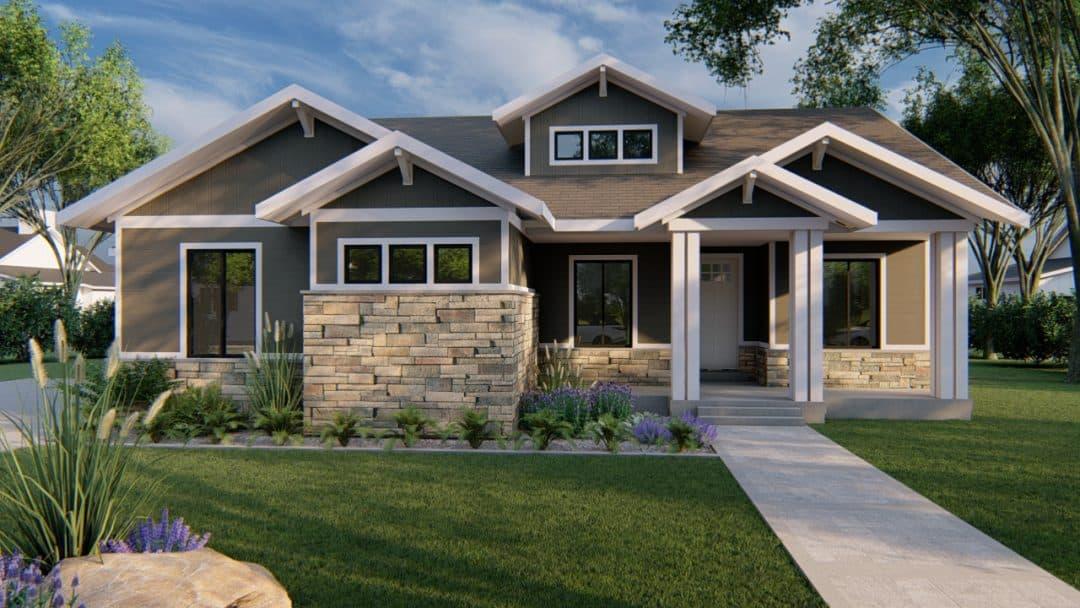 kirkland craftsman house plan 3d rendering