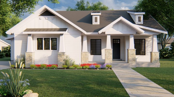 kirkland modern farmhouse house plan 3d rendering