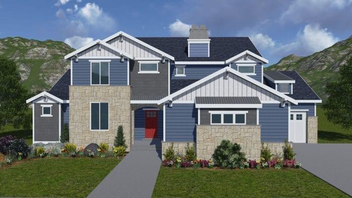tacoma craftsman house plan 3d rendering