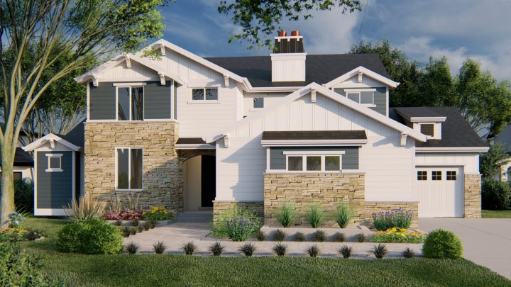 Tacoma Craftsman House Plan Rendering