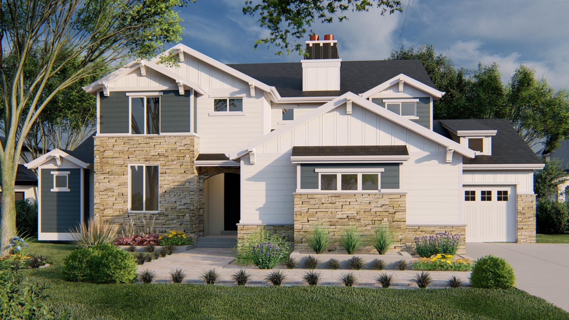 Tacoma Craftsman House Plan Rendering