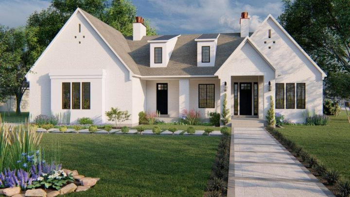 winchester ancient modern house plan 3d rendering