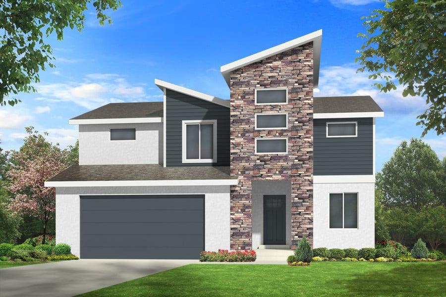dorsa modern house plan 3d rendering