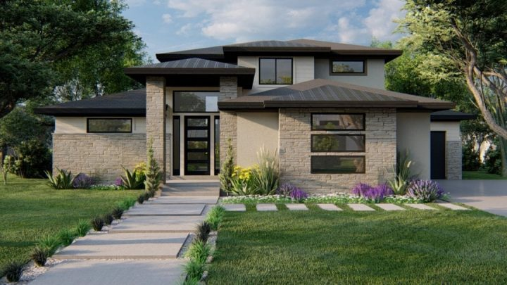 hillside prairie house plan 3d rendering