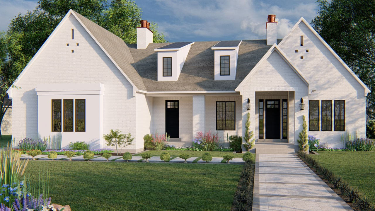 Winchester Ancient Modern House Plan Rendering