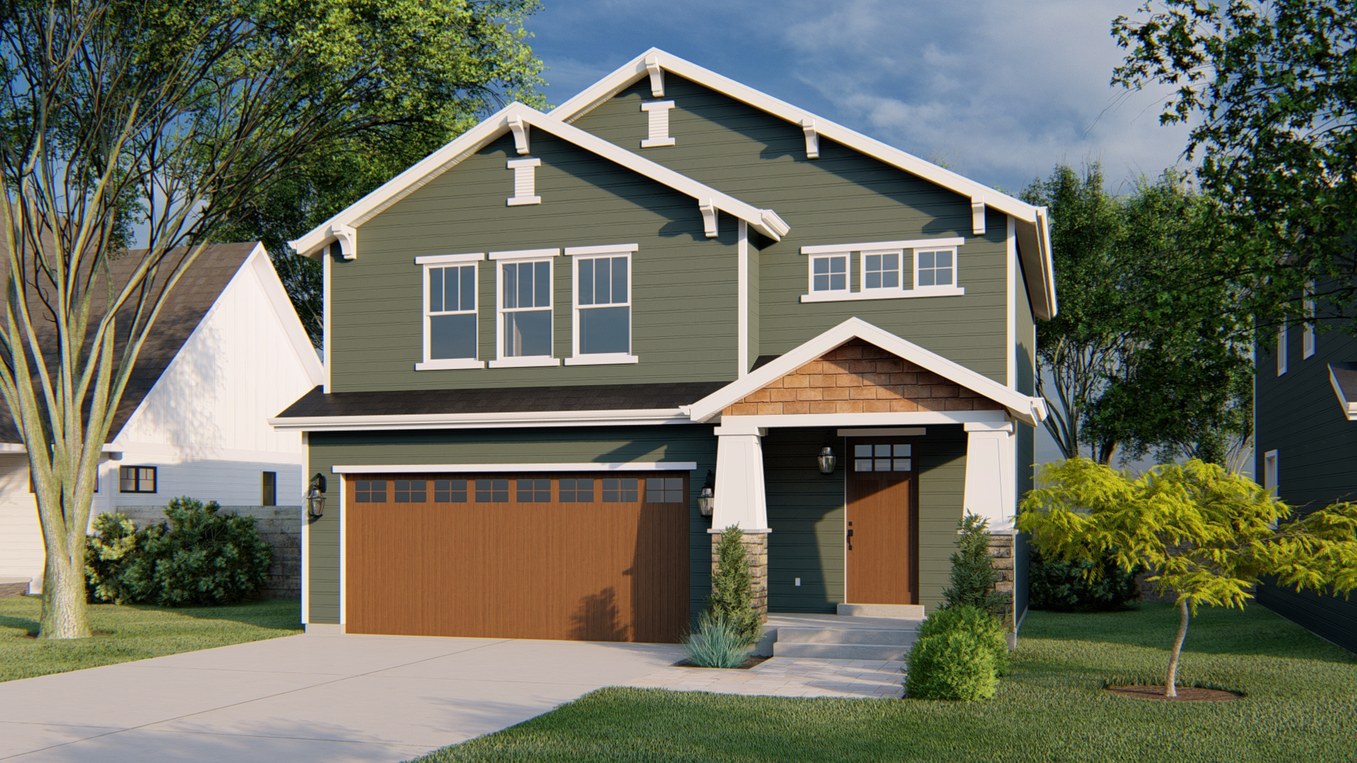 Jastin House Plan Craftsman Rendering