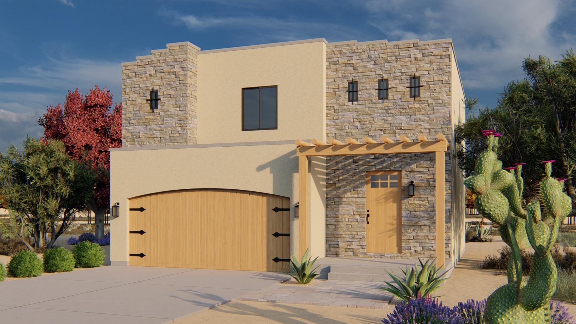 Jastin House Plan Santa Fe Rendering