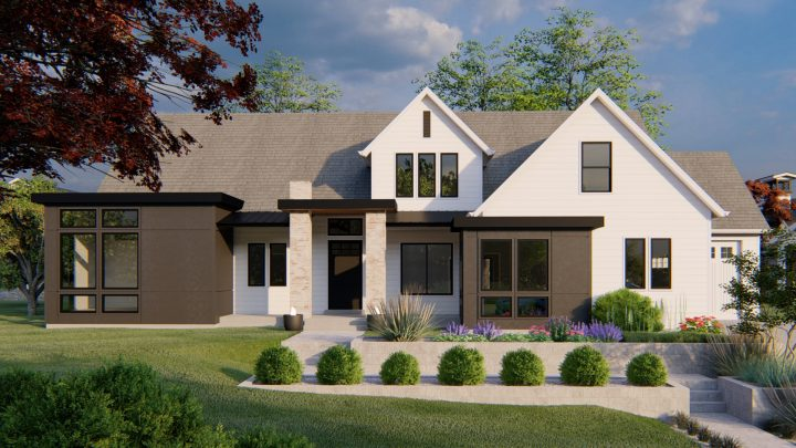 Northridge Modern Farmhouse House Plan Rendering