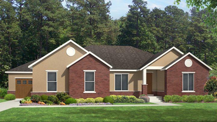 red deer traditional house plan 3d rendering