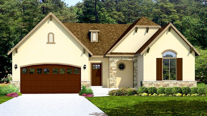allison french country house plan 3d rendering