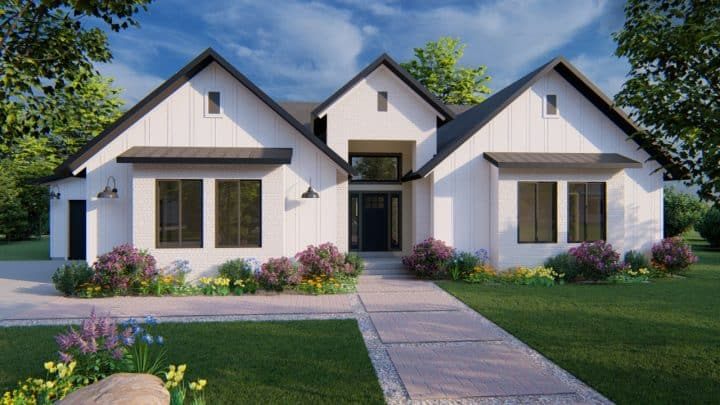 arbor wood modern farmhouse house plan 3d rendering