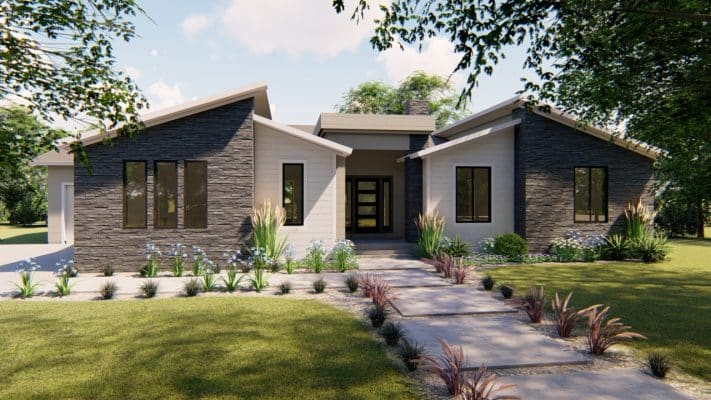 arbor wood mt. contemporary house plan 3d rendering