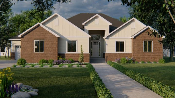 auburn traditional house plan 3d rendering