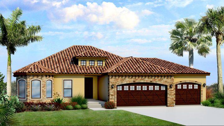 cambridge mediterranean house plan 3d rendering