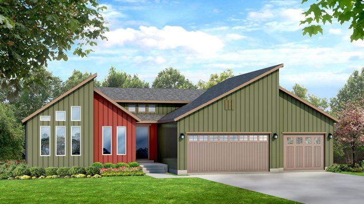 cambridge modern house plan 3d rendering