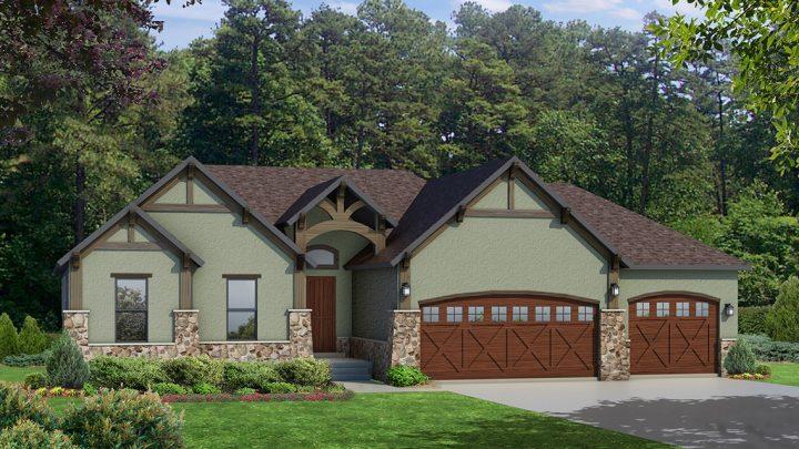 cambridge mt. rustic house plan 3d rendering
