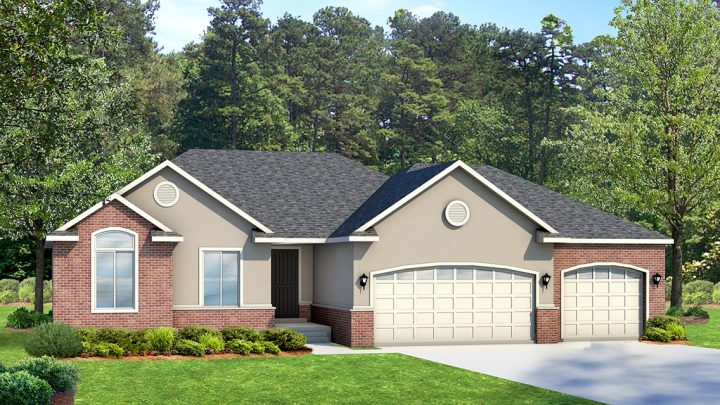 cambridge traditional house plan 3d rendering