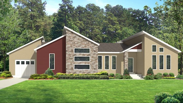 red deer modern house plan 3d rendering