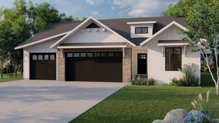 durham modern farmhouse house plan 3d rendering