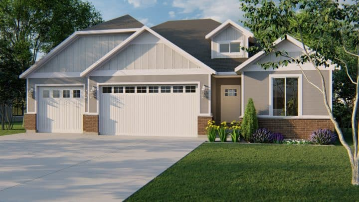 durham traditional house plan 3d rendering