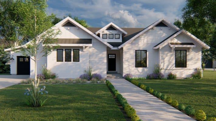 highline modern farmhouse house plan 3d rendering