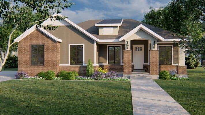 kirkland traditional house plan 3d rendering