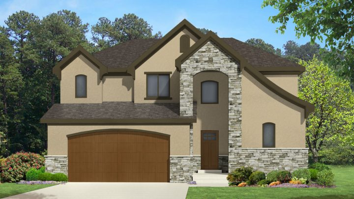 newton french country house plan 3d rendering