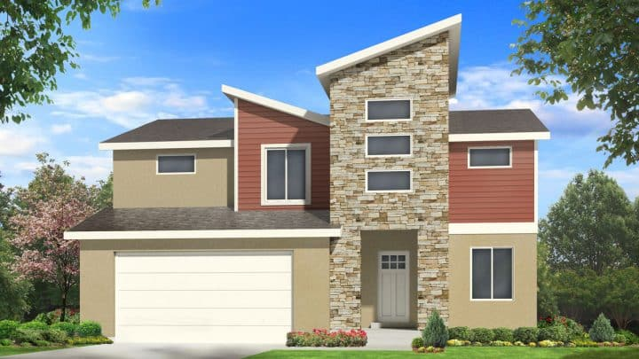 newton modern house plan 3d rendering