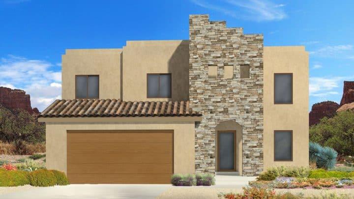 newton southwestern house plan 3d rendering