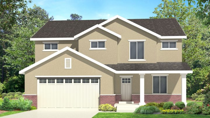 newton traditional house plan 3d rendering