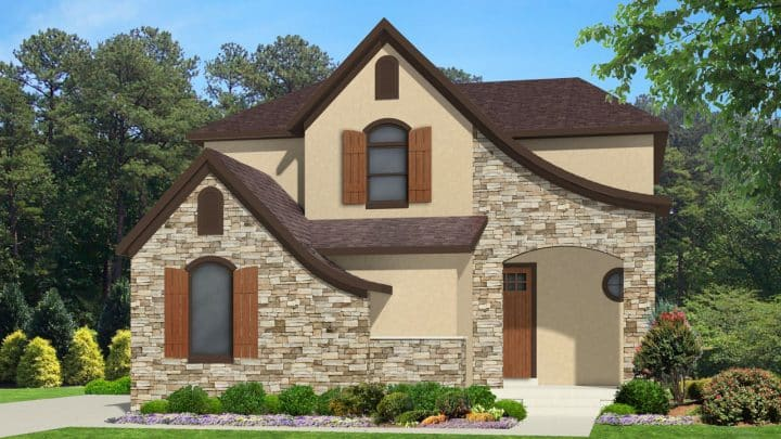 nicholas french country house plan 3d rendering