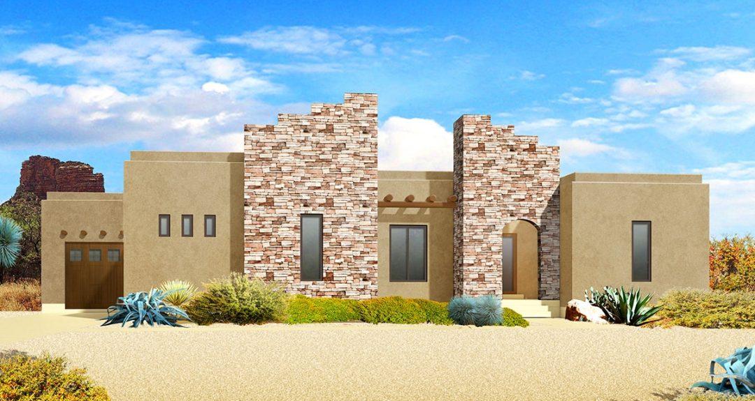 red deer southwestern house plan 3d rendering