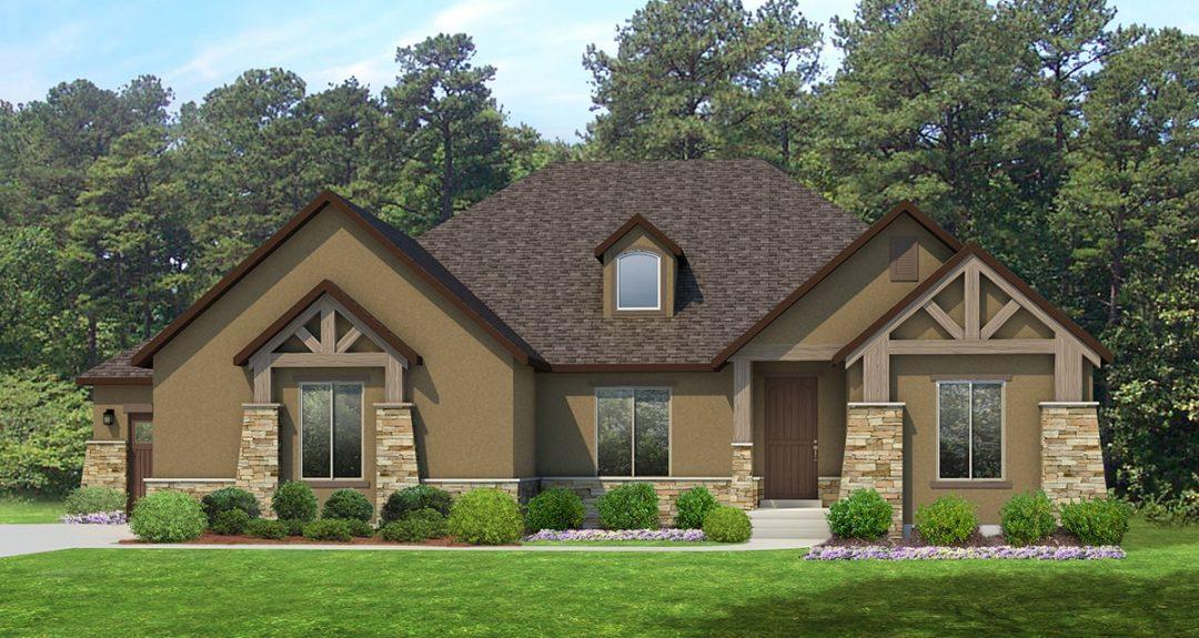 red deer mt. rustic house plan 3d rendering
