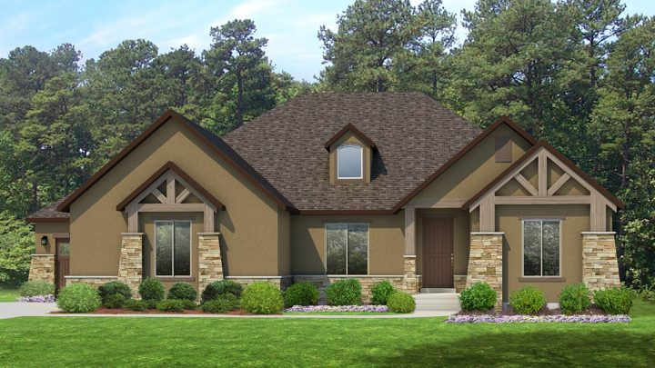 red deer mt. rustic house plan 3d rendering