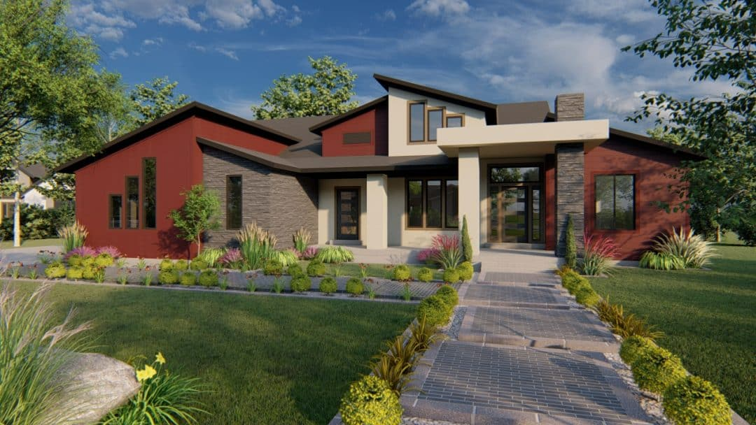 winchester mt. contemporary house plan 3d rendering