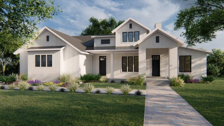 winchester modern farmhouse house plan 3d rendering