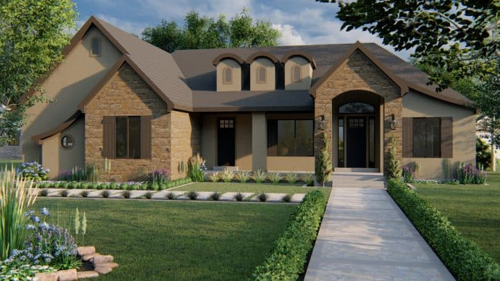 winchester french country house plan 3d rendering