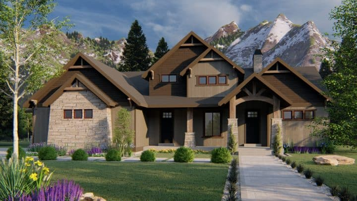 winchester mt. rustic house plan 3d rendering
