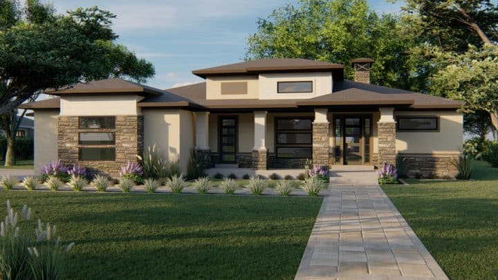 winchester prairie house plan 3d rendering